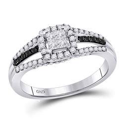 Diamond Cluster Split-shank Ring 5/8 Cttw 10kt White Gold