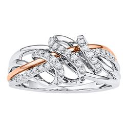 Diamond Coil Band Ring 1/4 Cttw 10kt White Rose-tone Gold