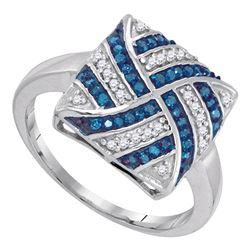 Round Blue Color Enhanced Diamond Square Stripe Cluster Ring 1/4 Cttw 10kt White Gold
