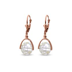 Genuine 7.5 ctw White Topaz Earrings 14KT Rose Gold - REF-43Z2N