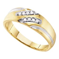Mens Diamond Two-tone Wedding Band Ring 1/8 Cttw 10kt Yellow Gold