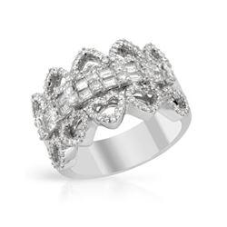 1.4 CTW Diamond Ring 18K White Gold - REF-177R7K