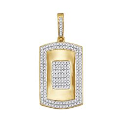 Mens Diamond Framed Dog Tag Cluster Charm Pendant 1/2 Cttw 10kt Yellow Gold