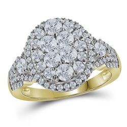 Diamond Cluster Bridal Wedding Engagement Ring 1-1/2 Cttw 14kt Yellow Gold