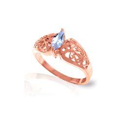 Genuine 0.20 CTW Aquamarine Ring 14KT Rose Gold - REF-48R3P
