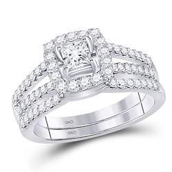 Diamond Bridal Wedding Engagement Ring Band Set 1 Cttw 14k White Gold