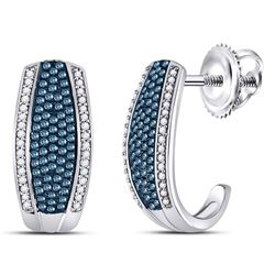 Round Blue Color Enhanced Diamond Half J Hoop Earrings 1/2 Cttw 10kt White Gold