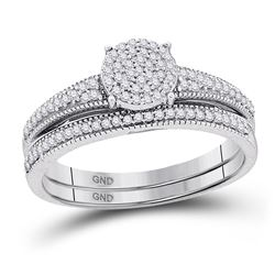 Diamond Cluster Bridal Wedding Engagement Ring Band Set 1/4 Cttw 10k White Gold