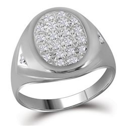 Mens Diamond Oval Cluster Ring 1/4 Cttw 10kt White Gold
