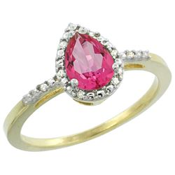 1.55 CTW Pink Topaz & Diamond Ring 10K Yellow Gold - REF-20M7K