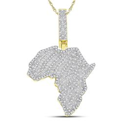Mens Diamond Africa Continent Charm Pendant 5/8 Cttw 10kt Yellow Gold