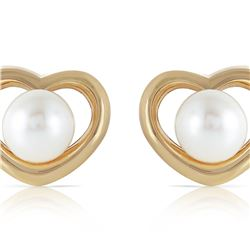 Genuine 4 ctw Pearl Earrings 14KT Yellow Gold - REF-40K7V