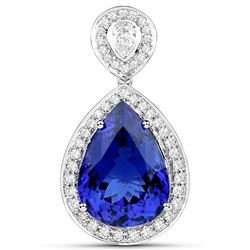 15.17 ctw Tanzanite & Diamond Pendant 18K White Gold - REF-1696W2M