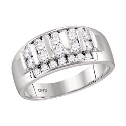 Mens Round Channel-set Diamond Raised Wedding Band 1.00 Cttw 10kt White Gold