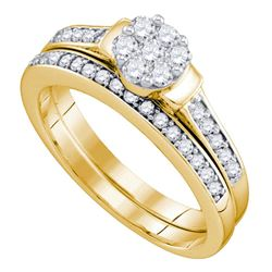Diamond Cluster Bridal Wedding Engagement Ring Band Set 1/2 Cttw 10kt Yellow Gold