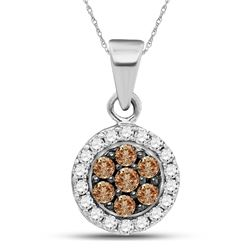 Round Brown Diamond Framed Flower Cluster Pendant 3/8 Cttw 10kt White Gold