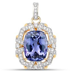 16.05 ctw Tanzanite & Diamond Pendant 18K Yellow Gold - REF-1080W6M