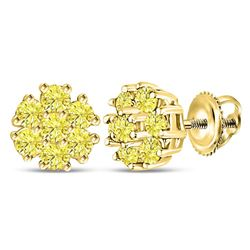 Round Yellow Color Enhanced Diamond Cluster Earrings 1/4 Cttw 10kt Yellow Gold