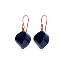 Genuine 30.5 ctw Sapphire Earrings 14KT Rose Gold - REF-39V3W