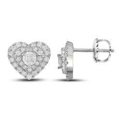 Diamond Fashion Heart Earrings 1/2 Cttw 14kt White Gold