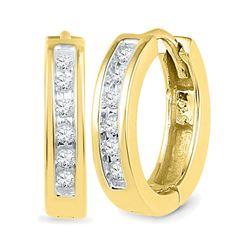 Diamond Hoop Earrings 1/8 Cttw 10kt Yellow Gold
