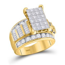 Diamond Cluster Bridal Wedding Engagement Ring 3.00 Cttw 14kt Yellow Gold