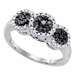 Round Black Color Enhanced Diamond Triple Cluster Ring 1/3 Cttw 10kt White Gold