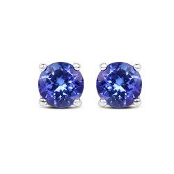 0.94 ctw Tanzanite Earrings 14K White Gold - REF-36N4A
