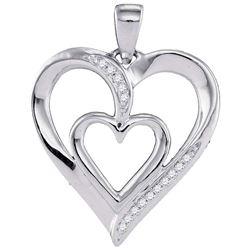 Diamond Double Nested Heart Pendant 1/20 Cttw 10kt White Gold