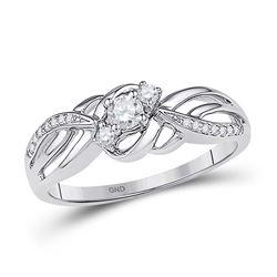 Diamond 3-stone Bridal Wedding Engagement Ring 1/4 Cttw 10kt White Gold
