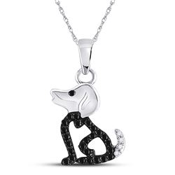 Black Color Enhanced Diamond Puppy Doggy Dog Canine Pendant 1/8 Cttw 10k White Gold