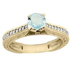 0.57 CTW Aquamarine & Diamond Ring 14K Yellow Gold - REF-54A4X