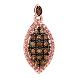 Round Brown Diamond Oval Cluster Pendant 1/5 Cttw 10kt Rose Gold