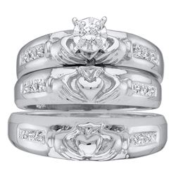 His & Hers Diamond Claddagh Matching Bridal Wedding Ring Band Set 1/8 Cttw 14kt White Gold