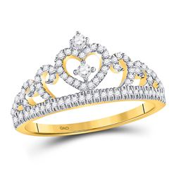 Diamond Heart Crown Fashion Ring 1/5 Cttw 10kt Yellow Gold