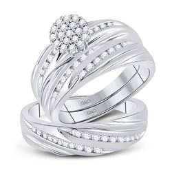 His Hers Diamond Cluster Matching Bridal Wedding Ring Band Set 7/8 Cttw 10kt White Gold