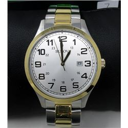 New in Box Man's 2-Tone Bulova Date/Dress Watch