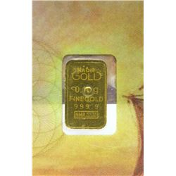 Three .10 Gram .9999 Fine Gold Karat Bars