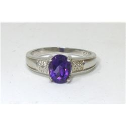 1.25 Amethyst & Diamond Solitaire Ring