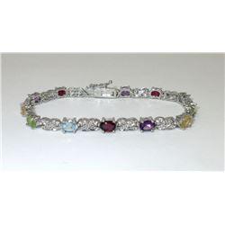 6.5 CTW Multi Gemstone & Diamond Bracelet