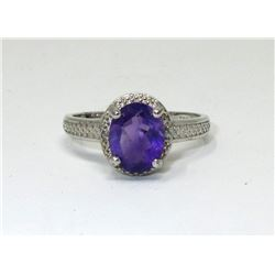 Amethyst & Diamond Solitaire Cocktail Ring