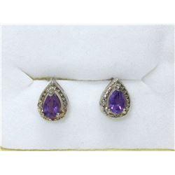 New Amethyst & Diamond Stud Earrings
