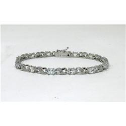 White Topaz & Diamond Infinity Design Bracelet