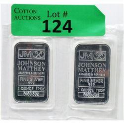 Two 1 Oz Johnson Matthey .999 Fine Silver Bars