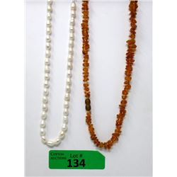 Freshwater Pearl & Orange Baltic Amber Necklaces