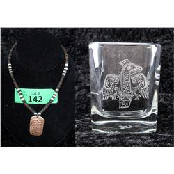 Haida Copper Necklace & Signed Candle Holder