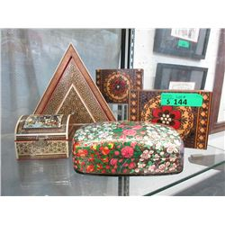 5 Decorated Wood  Keepsake Boxes
