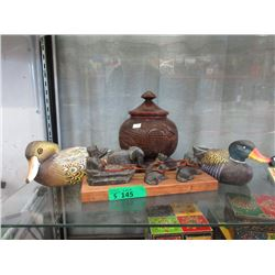 Carved Wood Urn, Inuit Art & Duck Carvings