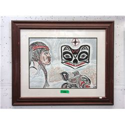 Signed Wood Framed First Nations Painting