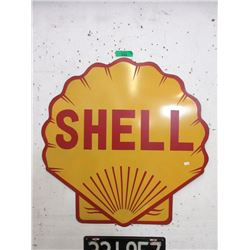 """30"""" Shell Gasoline Metal Clam Shell Sign"""
